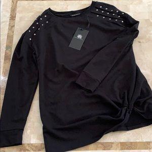 Rock & Republic Tucked Studded Sweat Shirt M